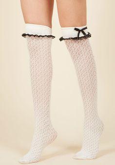 1960s Tights, Panty Hose, Stockings, Knee High Socks Flirty Tricks Thigh Highs in Ivory $12.99 AT vintagedancer.com