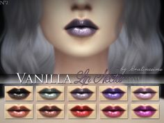 The Sims Resource: Vanilla Lip Nectar (10 Dark Colors) by Praline Sims • Sims 4 Downloads