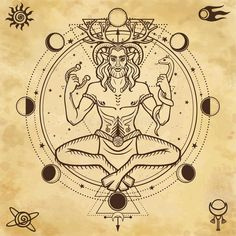 Portrait of horned god Cernunnos. Animation portrait of sitting horned god Cernunnos. Sacred geometry, phases of the moon, space symbols. Celtic Mythology, Cernunnos, Sacred Geometry, Tarot Art, Celtic Tattoos, Deities, Book Of Shadows, Wiccan, Wiccan Witch