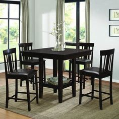 Homelegance Diego 5 Piece Square Counter Height Table Set in Espresso - from BEYOND Stores Counter Height Table Sets, Pub Table Sets, Table Bases, Dining Table In Kitchen, Dining Room Sets, Dining Tables, Bar Tables, Small Dining, Patio Bar Set