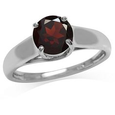 159ct Natural Garnet 925 Sterling Silver Solitaire Ring Size 9 ** Click on the image for additional details.