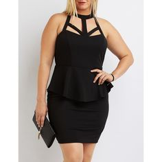 Charlotte Russe Caged Peplum Bodycon Dress ($35) ❤ liked on Polyvore featuring plus size women's fashion, plus size clothing, plus size dresses, black, plus size ruffle dress, strappy bodycon dress, plus size bodycon dresses, ruffle dress and bodycon dress