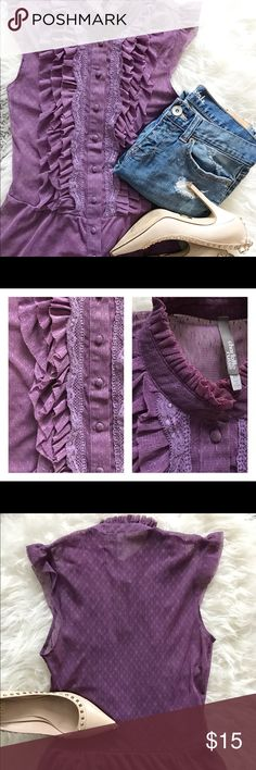 Detailed Purple Lace Blouse Xs Purple Lace Blouse. Only worn a few times. Like New. No holes or Tears. Jeans not included. Shoes sold separately. Tops Blouses