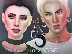 4 single piercing parts from previous sets, for your sims to wear them on their own.  Found in TSR Category 'Sims 4 Accessories Sets'