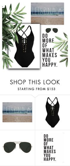 """sophisticated swim"" by kennwalsh ❤ liked on Polyvore featuring Trademark Fine Art, Heidi Klum, Ray-Ban and Native State"