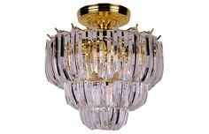 Brass & Lucite Flush Mount - Galleria d'Epoca