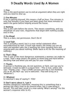 9 deadly words used by women - LOVE