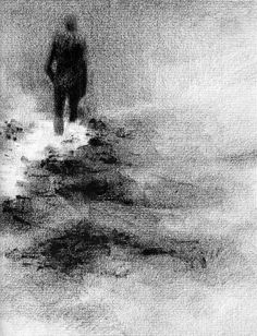 Haunting Figure Drawing Water Wading Gothic by ClaraLieuFineArt