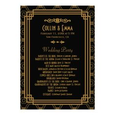 Art Deco Wedding Programs Custom Invitation