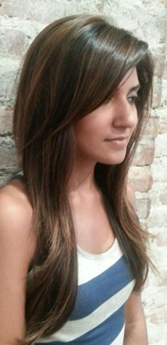 Natural Highlights on Dark Hair using the Balayage Technique