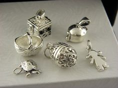 LOT OF6 STERLING SILVER MIX CHARMS ,FOR NECKLACE OR BRACELET,MINT.#28 #Traditional