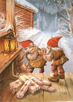 Lars Carlson postcard, Elves with Presents, Xmas Norwegian Christmas, Scandinavian Christmas, Vintage Christmas Cards, Christmas Images, Christmas Gnome, Xmas, Troll, Elves And Fairies, Christmas Illustration