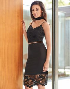 This must have style from Lipsy Love Michelle Keegan is sure to take you places. In a lace bottom design and figure flattering fit, this pencil skirt is a beaut for sure! To earn those ultimate style points, pair it with crop top or a plunge neckline blouse and sexy heels.