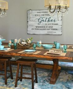 cool Salle à manger - Gather sign by Aimee Weaver Designs Dining Room Colors, Dining Room Wall Decor, Dining Room Design, Dining Room Quotes, Diningroom Decor, Diy Home, Home Kitchens, Kitchen Dining, Teal Kitchen Decor
