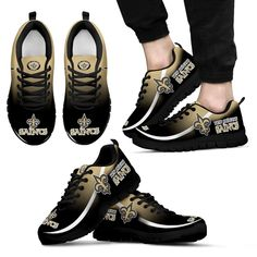 Mystery Straight Line Up New Orleans Saints Sneakers - Women's Sneakers - Black - WB / Saints Gear, Nfl Saints, New Orleans Saints Shirts, New Orleans Saints Football, Football Costume, Football Gear, Football Season, Who Dat, New York Giants