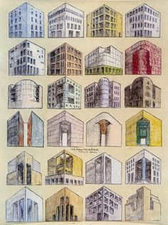 Sketches on the theme of the Corner House, Rob Krier.