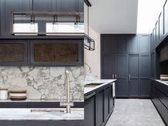 modern traditional kitchen, dark wood kitchen cabinets, marble, metal, design by Decus Interiors