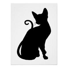Shop Cat Silhouette Poster created by silhouette_emporium. Girl Silhouette, Silhouette Design, Silhouette Photo, Devon Rex Cats, Halloween Applique, Cat Applique, Black Cat Art, Halloween Silhouettes, Cat Quilt