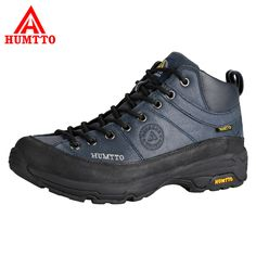 HUMTTO Men Hiking Shoes Outdoor Shoes Full-Grain Leather Waterproof Climbing Shoes Hard-Wearing Thermal Boots Mountain Sneakers #Affiliate
