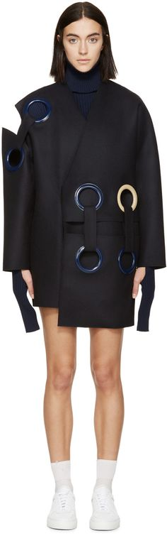 JACQUEMUS Navy Wool Eyelet Coat. #jacquemus #cloth #coat