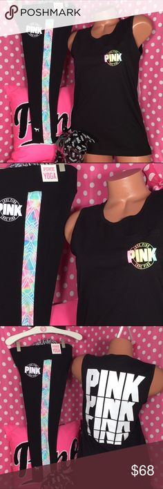 VS pink set Victoria's Secret pink crop yoga leggings with pastel graphics matching campus T-shirt with pastel graphics size extra small new with tags PINK Victoria's Secret Pants Leggings