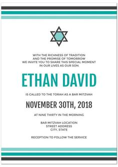 Teal, turquoise, dark gray Star of David Bar Mitzvah invitation.