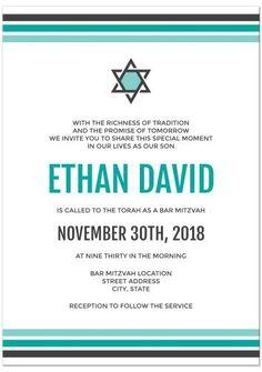 Teal, turquoise, dark gray Star of David Bar Mitzvah invitation.