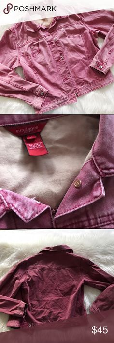Sundance burgundy denim jean jacket ✨ Excellent condition, size medium. Sundance Jackets & Coats Jean Jackets