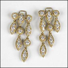 Pair of Diamond and 18 Karat Yellow Gold Earclips: Lot 129-7255 #diamond #gold #earclips #vintage