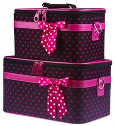 """Black Pink Polka Dot Train Case Set Cosmetic Makeup - Small Dot by Private Label. $37.75. Size : Large Case 12"""" x 7"""" x 8"""" and Small Case 10"""" x 8"""" x 7"""". Material: Microfiber. Adjustable Shoulder Straps Included. Color: Black Pink. Mirrors inside each train case. Complete with detachable and adjustable shoulder straps, interior mirrors, and pockets for added convenience, this two piece train case is sure to please! Each solid, stand-alone case is made of a durab..."""