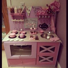 Play kitchen diy kitchen toy kitchen girlie pink lilac fun for kids children colourful love it sweet jars homemade handmade cupcakes bakery chef set sweet shop daughter christmas present