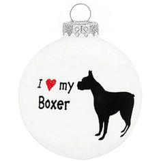 I Love My Boxer Dog Ornament