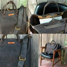 Mega Leather Tote hand stitched travel Bag by FeralEmpire
