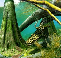 <b>Presentando a una ballena con patas y a un cocodrilo vegetariano.</b> Del nuevo libro de paleoarte de Julius Csotonyi.
