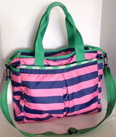 LeSportsac Ryan Baby Diaper Pink Blue Striped Bag Carry-on W/ Changing Pad GUC | eBay