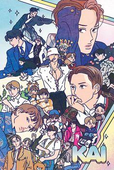 2019 KAI birthday illust by langmanpanda on FanBook Kaisoo, Exo Anime, Exo Fan Art, Exo Lockscreen, K Pop Star, Exo Kai, Baekhyun, Exo Members, Kpop Fanart