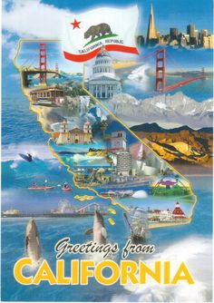 Postcard From The State Of California With A Map Flag And Photos Of Tourist Attractions Sent To A Postcrosser In The United States