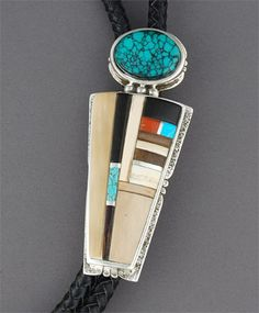 American Indian Art from the Heard Museum Online Shop- Silver & Multi-Stone Inlay Bolo Tie by Edison Cummings (Navajo)