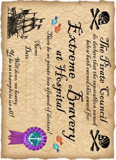 Printable pirate award for being brave in hospital                                                                                                                                                     More