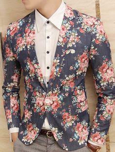 *Blue Jeans Blazer With Floral Print 2014 Style | www.pilaeo.com #men's #luxury #fashion