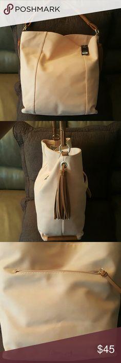 NEW Olivia + Joy large shoulder bag NEW never carried large Olivia + Joy shoulder bag. Kind of peach colored with tan straps. Super cute ??. Style #: OJ45426  Color: Saddle The Adele Collection Olivia + Joy Bags Shoulder Bags