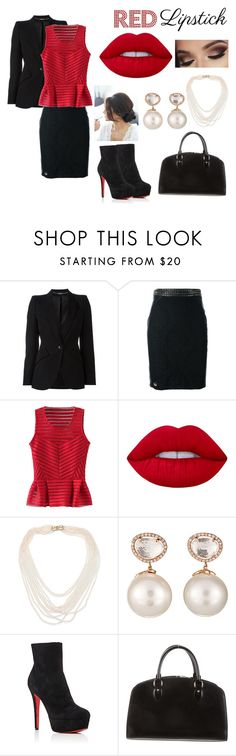 """""""Black And Red"""" by male-sarmiento ❤ liked on Polyvore featuring beauty, Alexander McQueen, Philipp Plein, WithChic, Lime Crime, Oscar de la Renta, Samira 13, Christian Louboutin and Louis Vuitton"""
