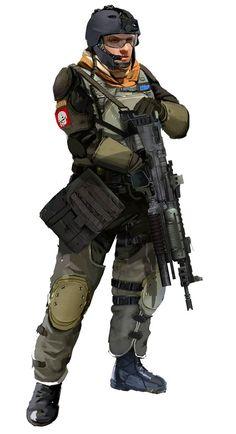 ISA Trooper, Killzone 2 concept art by Xavier Marquis