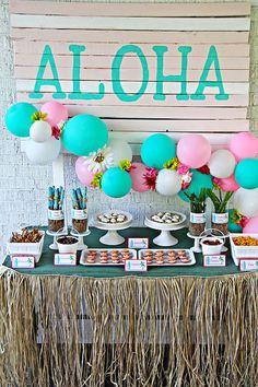Dessert table from a Hawaiian Luau Birthday Party on Kara's Party Ideas | KarasPartyIdeas.com (17)