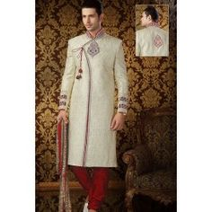 Presenting Cream Brocade #Sherwani with Stone Work Order Now@ http://zohraa.com/officewear-casual-blue-faux-georgette-and-cotton-premium-kurti-fab-qikrk28tpdtl-32989.html Rs. 22049.