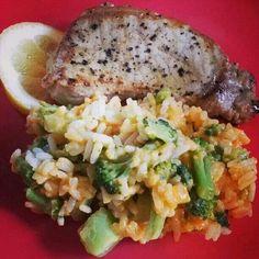 Pork loin with broccoli cheese rice #MrsKimchi #BillieCooks #homemade