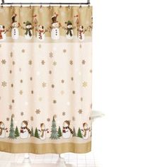 Snowman Penguin Christmas Vinyl Shower Curtain Hook Set Snow Oh What Fun NEW