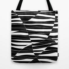 Carved+Black+and+White+Wave+Tote+Bag+by+k_c_s+-+$22.00