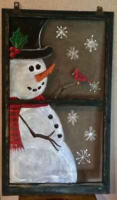 34 Ideas antique window screen ideas for 2019 Christmas Wood Crafts, Snowman Crafts, Christmas Signs, Christmas Snowman, Rustic Christmas, Christmas Projects, Holiday Crafts, Christmas Wreaths, Christmas Decorations
