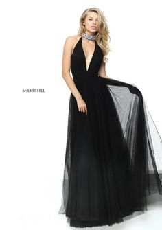 13c444fda1c1 Sherri Hill 50840 Open Back Black Beaded Halter Plunging V Neckline 2017  Pleated Long Tulle Prom Dresses